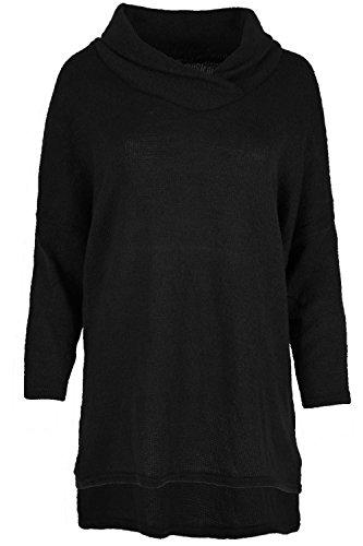 Be Jealous Femmes Baggy Pull Sweater Tricot Femmes Lagenlook Col Roulé Haut Oversize - Noir, M/L EU 40/42