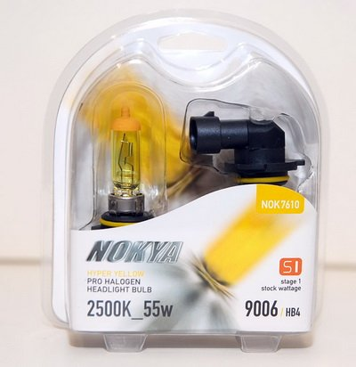 Nokya 9006 / HB4 Arctic Hyper Yellow Stage 1 2500K Halogen Headlight / Fog Light Bulb (Nokya Pro Halogen Light Bulb)