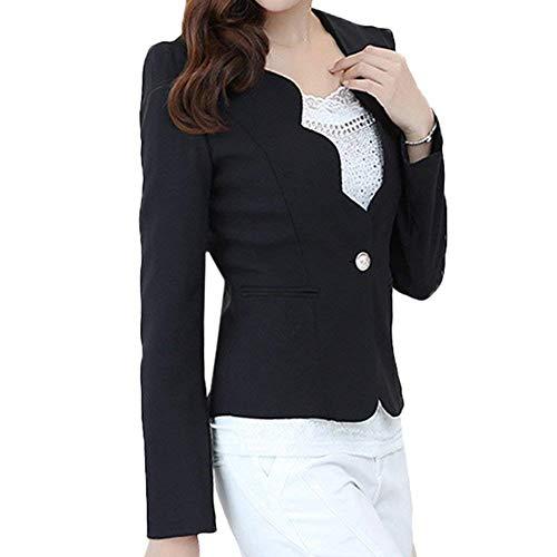 Mode Lunga Button Con Camicia Da Giubbino Eleganti Donna Outerwear Classica Tasche Blazer Marca Manica Tailleur Monocromo Slim Giacca Moda Business Fit Di Autunno Primaverile Schwarz awwT8xPH