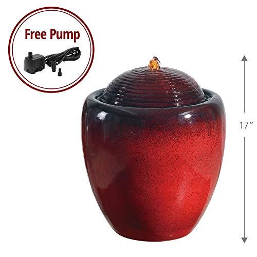 (Peaktop PF004 Outdoor Garden Pot Fountains, Red)