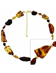 18K Gold over Sterling Silver Gold & Amber Stone Necklace