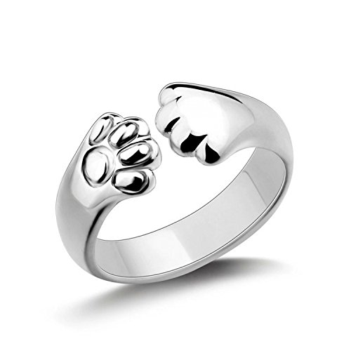 Mmiiss Lovely Women's Cat Paw Open Ring Sterling Silver Plated Ring Gift for Holiday, Adjustable -