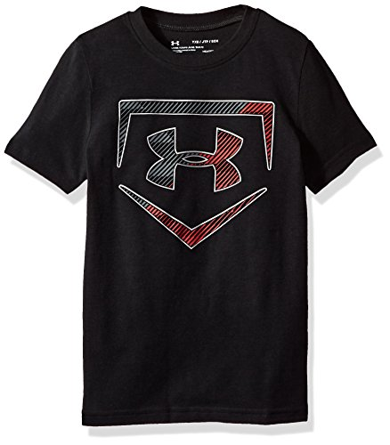 Under Armour Boys Baseball Logo T-Shirt,Black (001)/Metallic Silver, Youth Small