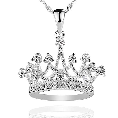 GemsChest Sterling Silver Round Cubic Zirconia Crown Pendant Necklace 18