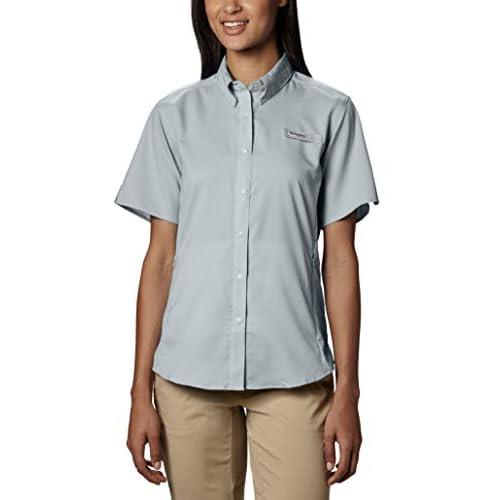 Columbia PFG Womens Large Tasmiami ll Gray UPF40 Short Sleeve Casual Shirt NWT
