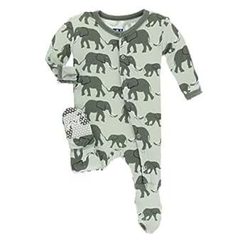 Kickee Pants Little Boys Print Footie with Snaps - Aloe Elephants, Newborn