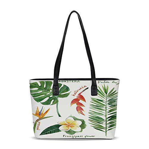 Plant PU Shoulder Tote Bag,Bird of Paradise Palm Leaf and Assorted Exotic Flowe