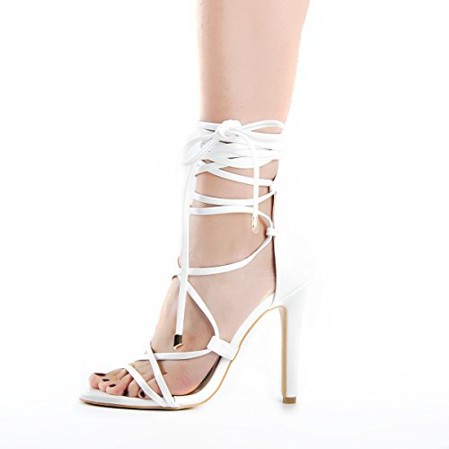 Sexy High Heeled - onlymaker Women's Gladiator Ankle Strap Lace up Open Toe Stiletto Snake Patterned Harmoni Heeled Strappy Sandals Black White 15 M US