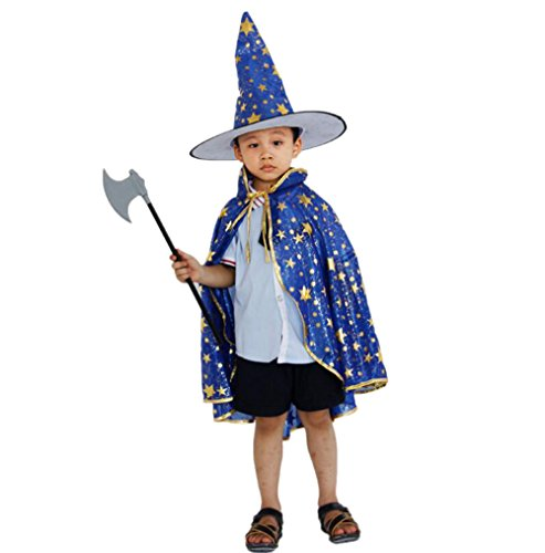 witch wizard kids cape and hat sets Halloween birthday Christmas customs cosplay dress for boys and girls (Blue Devils Satin)