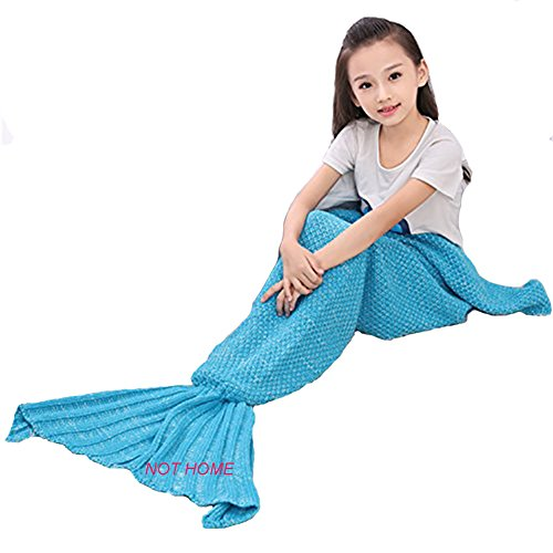 Crochet Mermaid Tail Blanket ,Christmas Handmade Mermaid Knitted Blanket for Kids, Girls and Adults, Summer Super Soft Sleeping Bags (Light Blue)