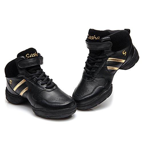 da HROYL Danza Ginnastica della Sportiva Jazz Danza oro Ballo Maglia Scarpe Nero Sneaker Scarpe da Donna Modello IT da Scarpe Moderno Leather Ballo B52 wrCq6wpf