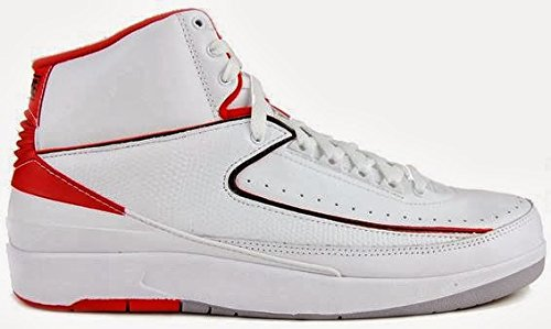 (Nike air Jordan 2 Retro BG hi top Trainers 395718 Sneakers Shoes (UK 4.5 us 5Y EU 37.5, White Black Varsity red Cement Grey 102))