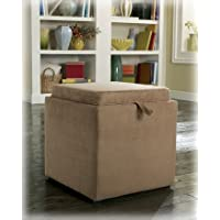 Signature Design by Ashley 7490311 Storage Ottoman with Flip Tray Top and Additional Cube Ottoman, Mocha