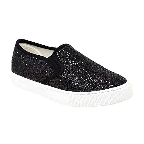 Mata Shoes FQ65 Womens Glitter Slip On White Sole Sneakers Half Size Small