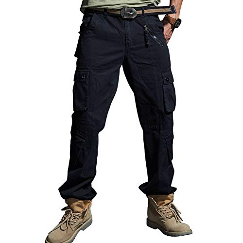 - Cargo Pants Mens Casual Premium Fabric Lightweight Multi-Pockets Jogging Hiking Combating Running Military Ripstop Wild Fishing Hunting Trousers for Men Black