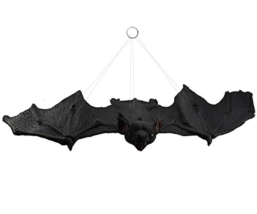 Giant Creepy Animated Hanging Bat - 27 Inch Spooky Flying Bat for Best Halloween Party Favors and Decoration (Flying Bats)