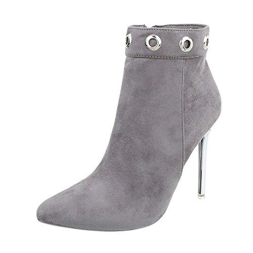 Zapatos para mujer Botas Tacón de aguja Botines de tacón Ital-Design Gris TS06P