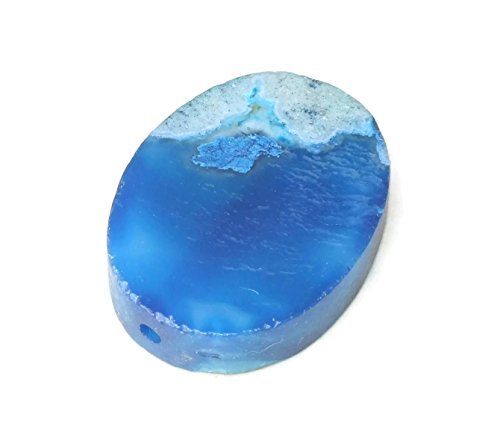 - Blue Cherry Blossom Agate Bead Pendant - Natural Stone Pendant, Druzy Pendant, Gemstone Pendant, Polished, Connector - 30mm x 40mm