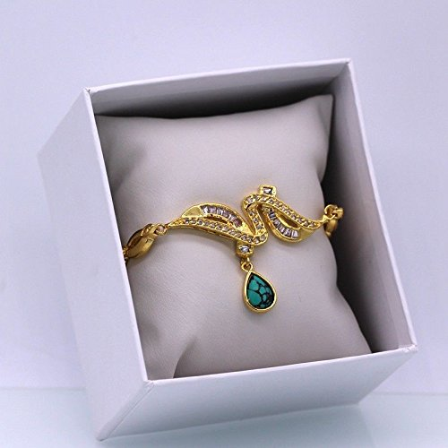 (Phetmanee Shop Trendy Jewelry Turquoise White Zircon 18k Gold Plated Charm Bracelet)