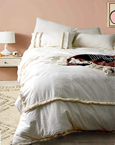 Flber Ivory Duvet Cover Tufted Boho Bedding Comforter Queen Size, 86in x90in (Curtains Duvet Matching Covers And)