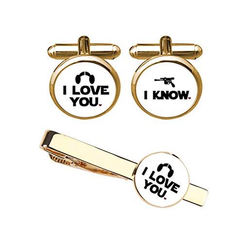 ZUNON I Love You I Know Cufflinks & Tie Clips Set Groom Groomsmen Wedding Jewelry with Box(Gold Cufflink Tieclip Set) by ZUNON