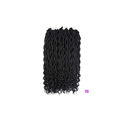 Curly Crochet Braids Faux Locs Crochet Hair 18inch 24 Strands Braiding Extensions Synthetic Dreadlocks Hair,#1B,18inches,10Pcs/Lot
