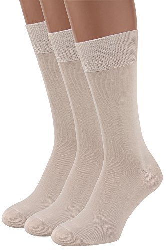 Mens Dress Socks, 3 packs Rich European Organic Cotton Beige Tan Khaki AIR SOCKS (Beige, L)