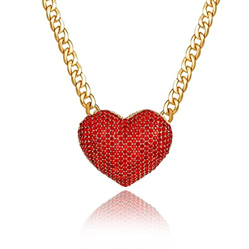 Women's Statement Sparkly Heart Necklace Blingbling Rhinestone Chunky Chain Necklace Punk Rock Style Costume Jewelry (Silver) ()