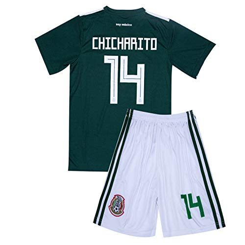 2017-2018 Mexico National Team #14 CHICHARITO Home Youth Soccer Jersey & Shorts Green 10-11Y/Size (Mexico Home Jersey Shirt)