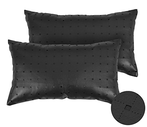 Deconovo Faux Leather Square Hollow Throw Cushion Covers Solid Leather Look Pillows Cushion Cover for Couch 12X18 Inch Black Set of 2 Solid Faux Leather