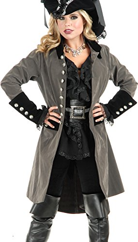 Women's Small 5-7 Gun Metal Grey And Black Pirate Vixen Costume Long Jacket Coat ()