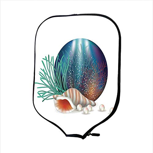 iPrint Neoprene Pickleball Paddle Racket Cover Case,Pearls,Underwater World with Shelled Mollusk Corals Pearls Crystalline Form Sea Nautical Theme,Multi,Fit for Most Rackets - Protect Your Paddle
