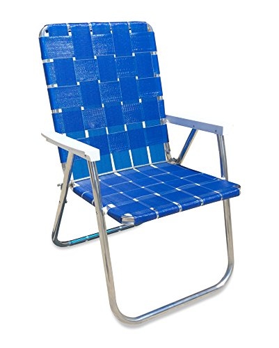 Lawn Chair USA Aluminum Webbed Chair (Deluxe, Blue Wave with White Arms) by Lawn Chair USA