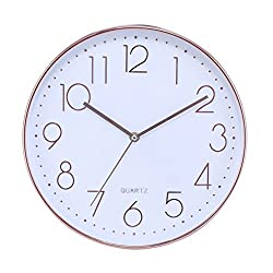 Silent Sweep Non Ticking Digital 12 In Modern Round Decoretive Large Wall Clock,Rose Gold