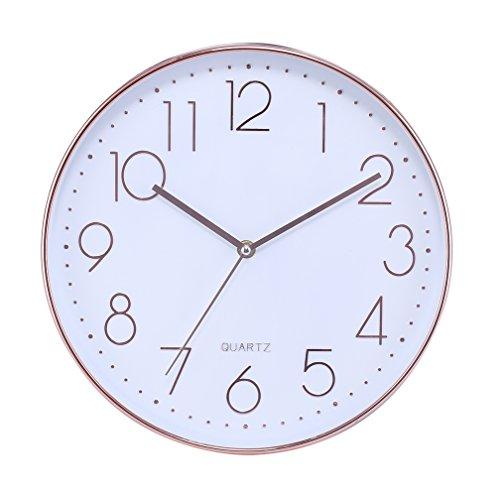 Modern Silent Non Ticking Wall Clock 12' Round Decorative Battery...