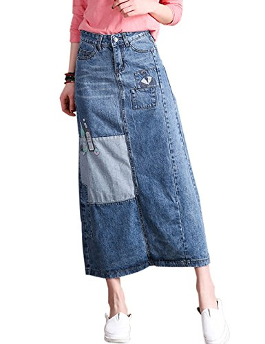 Tanming Women's Patchwork A Line Embroidered Long Denim Skirt With Slit (Medium, Blue)