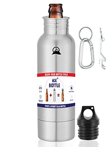 The Original Beer Cooler - Ice2Bottle - Cold Beer - Beer Keeper - Stainless Steel Bottle Insulator - Beer Holder - Fits 12oz Bottles - Includes Bottle Opener & Keychain Carabiner (Stainless (How To Make A Cigarette Holder)