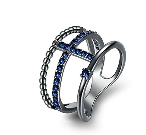 (ANAZOZ Fashion Rings, Black Gold Plated Round Blue Cubic Zirconia Women Ring Cross Size 8)
