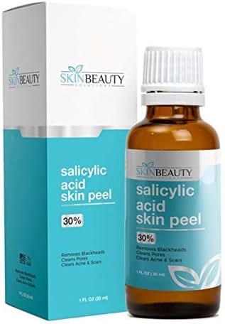 SALICYLIC Acid 30% Chemical Peel with Beta Hydroxy BHA For Rosacea, Blackheads, Whiteheads, Clogged Pores, Seborrheic Keratosis, Wart Remover, Dandruff, Bumpy Oily Acne Skin (1 oz / 30ml)