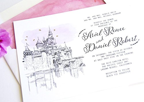 Fairytale Wedding, Disneyland Castle Inspired Invitations Package (Sold in sets of 10 Invitations, RSVP Cards and ()