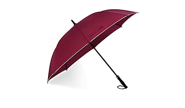 Long Handle Automatic Umbrella,with Ergonomic EVA Handle,Glass Fiber Windproof Frame,Reflective Edge Design
