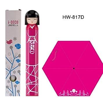 Fuchsia Kokeshi Doll Umbrella w Hard Case