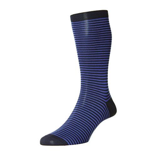 (Mens 1 Pair Pantherella Farringdon Classic Stripe Cotton Lisle Socks-Navy 11-13 US Mens )
