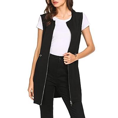 Pinspark Women's Long Sleeveless Zipper Vest Jacket Collarless Cardigan Blazer at Women's Clothing store