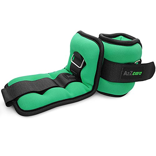 A2ZCARE Ankle Weight/Wrist Weight Set with Neoprene Padding for Soft, Comfortable Feel (Green (2 lbs Pair))
