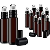 Roller Bottles for Essential Oils - 12 Pack 10 ml Glass Tall Roll On Refillable Empty Amber Bottles with Stainless Steel Roller Ball Cap Bulk - DIY Perfume Aromatherapy - Bulk Essentials