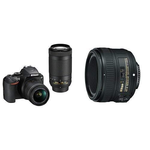 Nikon D3500 DX-Format DSLR Two Lens Kit with AF-P DX NIKKOR 18-55mm & AF-P DX NIKKOR 70-300mm, Black with 50mm f/1.8G Lens