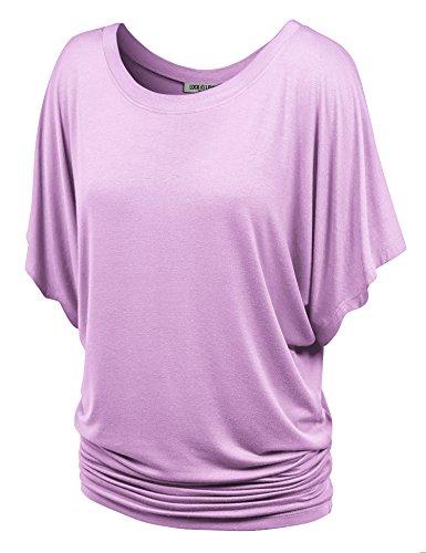 (WT742 Womens Boat Neck Short Sleeve Dolman Drape Top L Lavender )
