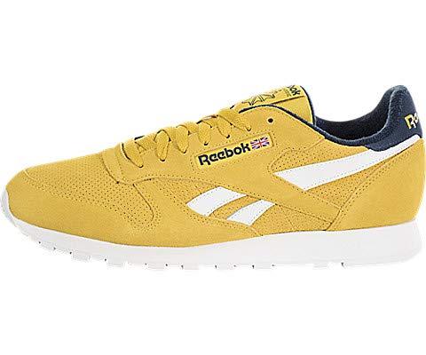 (Reebok Men's Classic Leather Sneaker, Urban Yellow/Collegiate Navy, 8 M US)
