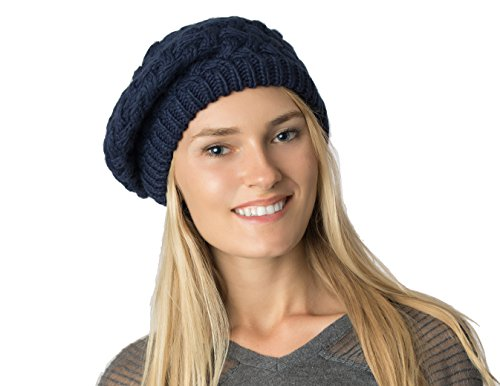Beret Knit Pattern (AN. Fall Winter Knit Beanie Beret Hat for Women Soft Lining - Many Styles (Navy Basket Weave))